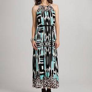 Roz&Ali Abstract Leopard Print Maxi Dress Size 14